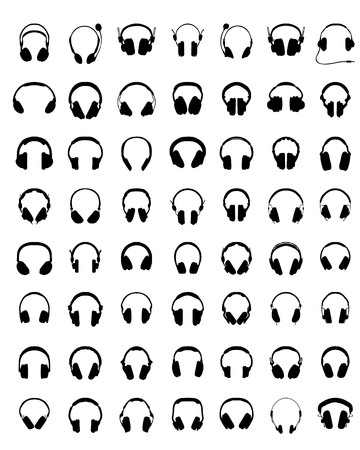 Black silhouettes of headphones on a white background