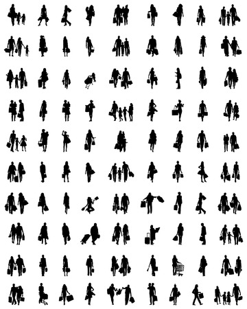 Black silhouettes of people in the shopping on a white background