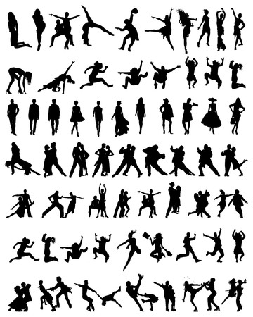 Big collection of people silhouettes.