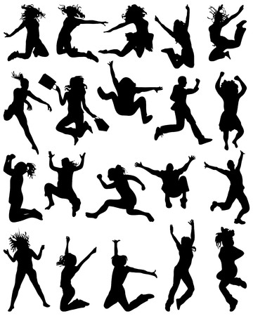 Silhouettes of people who jumping and flying. Ilustração