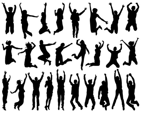 Silhouettes of people who jumping and flying. Illustration