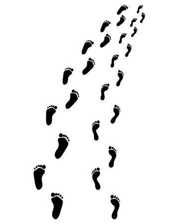 Trail of human footsteps, turn right