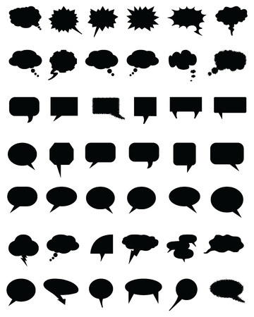 Black bubble speech set on a white background