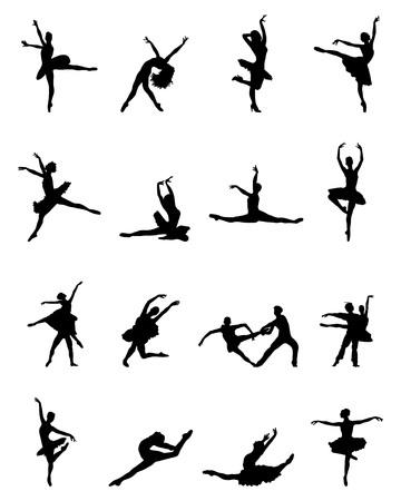 Black silhouettes of ballerinas on white background