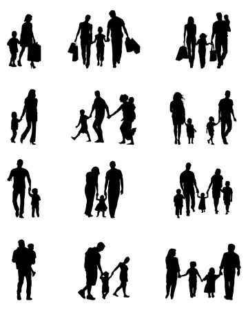 Black silhouettes of families on a white background Vettoriali