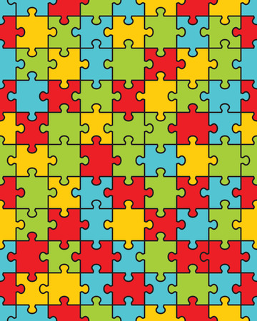 Separate pieces of colorful puzzle, seamless illustration