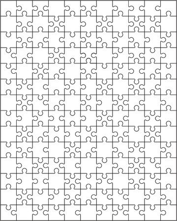 Illustration of separate parts of white puzzle Illustration