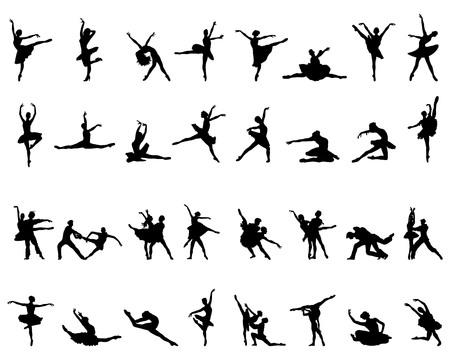 Black silhouettes of ballerinas on white background, vector