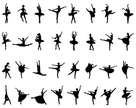 Silhouettes noires de ballerines sur fond blanc, vecteur