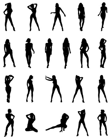 Black silhouettes of girls in various poses on a white background Illustration