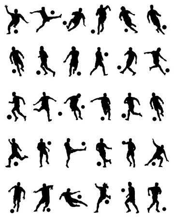 Black silhouettes of football players on a white background Illustration