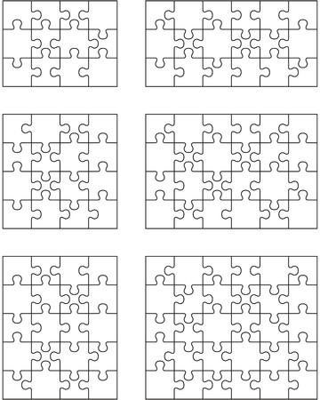 Separate pieces of six white jigsaw puzzles