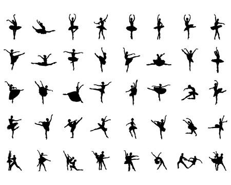 Black silhouettes of ballerinas on a white background Illustration