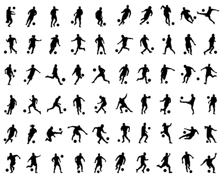 Black silhouettes of football players on a white background Ilustração