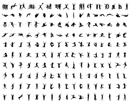Silhouettes on a white background of people wich jumping and flying