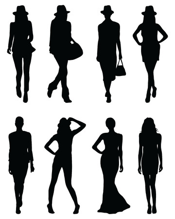 Black silhouettes of fashion girls in various poses Illustration