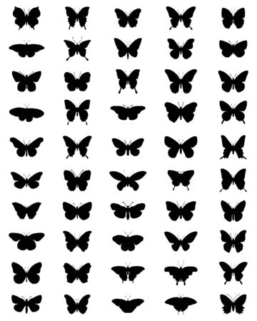 Black silhouettes of butterflies on a white background