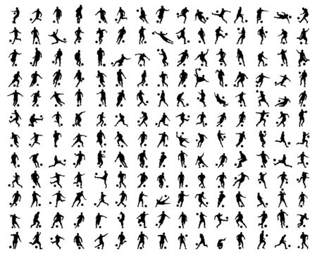 Black silhouettes of football players on white background