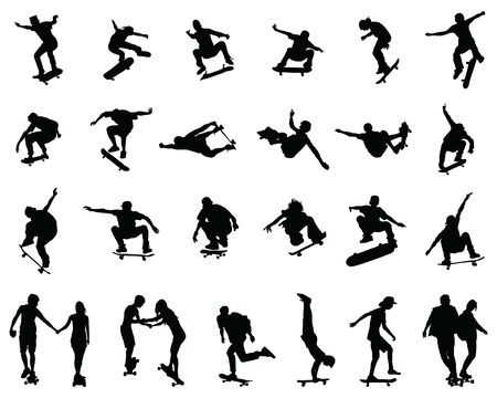 Black silhouettes of skate jumpers on a white background