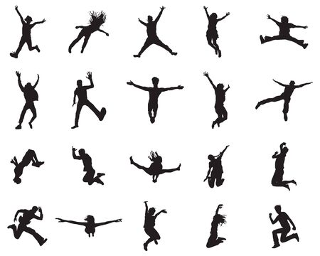 Silhouettes of people with jumping and flying, vector