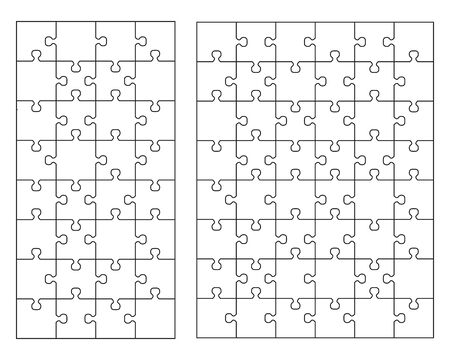 Vector illustration of two white puzzles, separate pieces