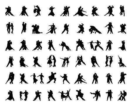 Black silhouettes of tango players on a white background Illustration