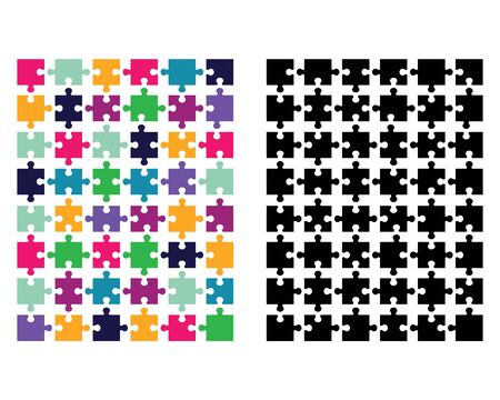 Colored and black puzzle on a white background