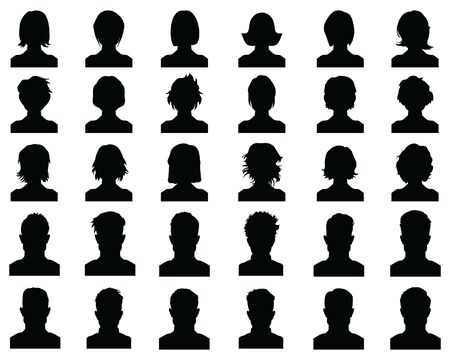 Male and female head silhouettes avatar, profile icons