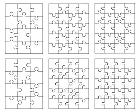 Illustration of separate parts of white puzzles Vettoriali