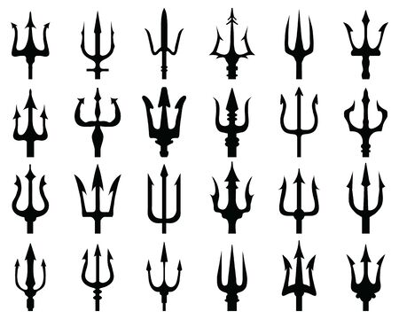 Set of black silhouettes of trident on a white background