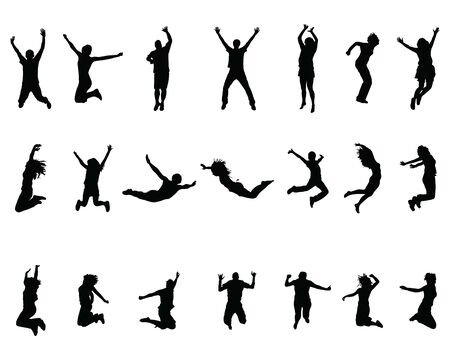 Silhouettes of jumping people on a black background