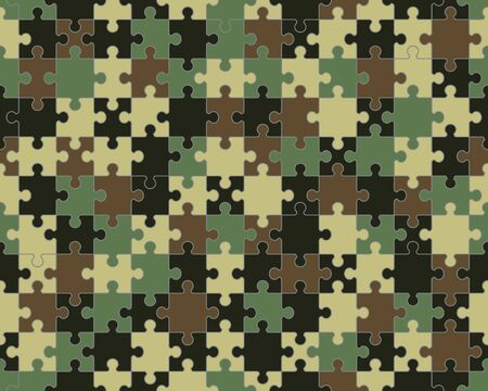 Separate pieces of colorful camouflage puzzle