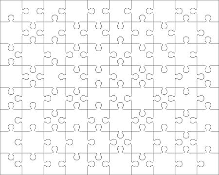 Illustration of separate parts of white puzzle Vettoriali