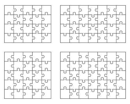 Vector illustration of separate parts of four white puzzles