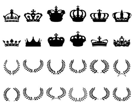 Black silhouettes of crowns and laurel wreaths on a white background Vettoriali