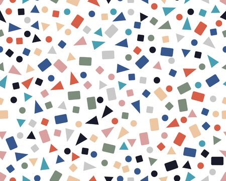 Seamless pattern with confetti of triangles, circles and squares Vettoriali
