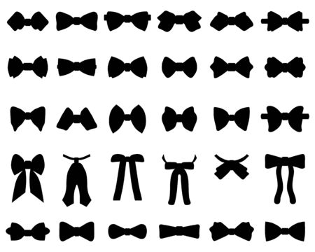 Black silhouettes of bow ties on a white background Vettoriali