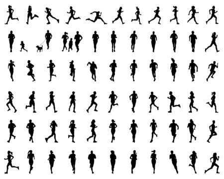 Black silhouettes of runners on a white background