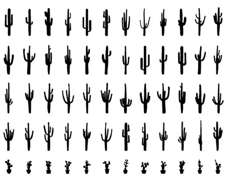Black silhouettes of different cactus on the background