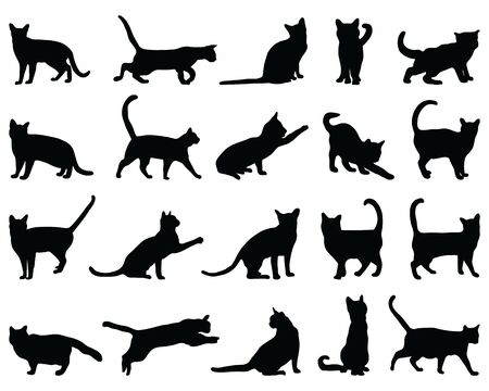 Black silhouettes of cats on a white background Vettoriali