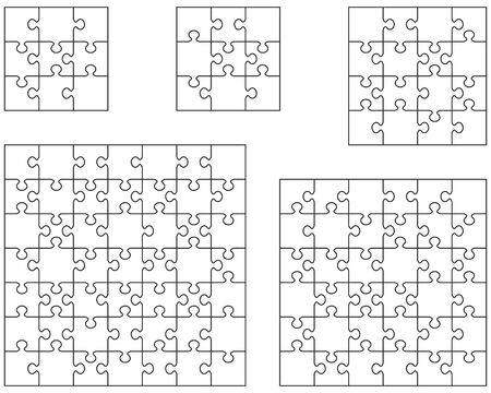 Illustration of five white puzzles, separate pieces Vettoriali
