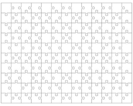 Illustration of white big puzzle, separate pieces