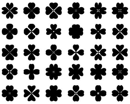 Black silhouettes of four leaf clover on a white background Vettoriali