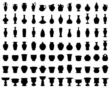 Black silhouettes of flowerpots, potteries and vases on a white background Vettoriali