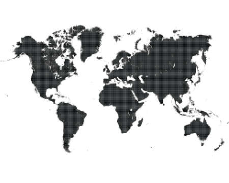 Pixel  dotted world map on white background, halftone design Vettoriali
