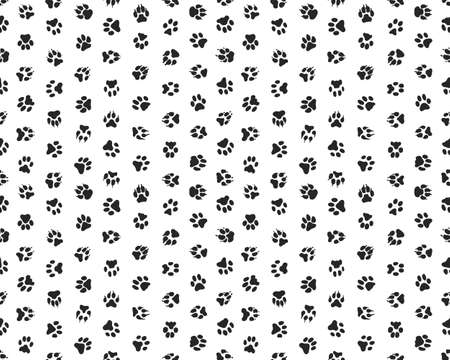 Seamless pattern with print of dogs paws on a white background Vector Illustration