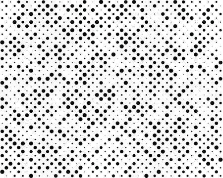 Seamless background with black dots different sizes on a white background