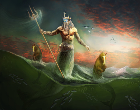 Poseidon god and king of sea Stock Photo