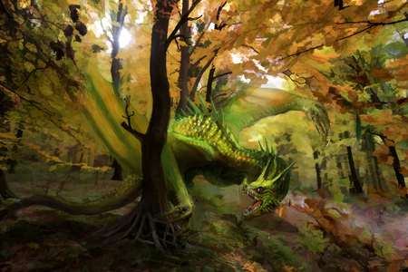 green dragon in forest