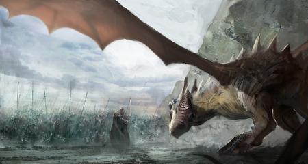 battle evil: knights hunting dragon on field